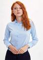DeFacto Puantiye Desenli Uzun Kollu Gömlek Mavi